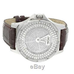 12ct Genuine Real Diamond King Master Real Leather Luxury Style Wrist Watch New