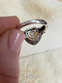 18K And Sterling Silver HEART-SHAPED WHISKEY QUARTZ Ring, Balinese Style, Size 7