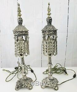 2 Vintage L&L WMC Victorian Style Silver Tone Glass Crystal Beaded Table Lamps
