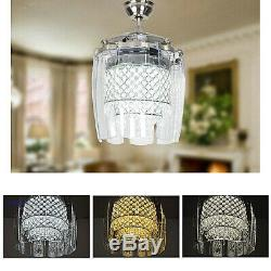 42Luxury Crystal Remote 8-Blade Take Off Chandelier Invisible Ceiling Fan Light