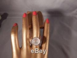 6.06 Ct. Round Faceted Rose Quartz Ring Sterling Silver 1920's Style Filigree