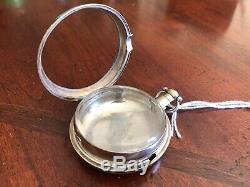 Antique English Silver Fuzee Style Pocket Watch Case With Bullseye Crystal 1790