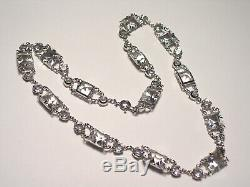 Art Deco Sterling Silver Rock Crystal Tennis Style Necklace
