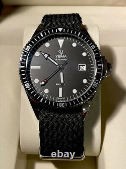 Awesome Yema Superman Black French Military Style Divers Watch With Box & Papers