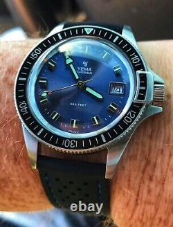 Awesome Yema Superman Blue French Military Style Divers Watch With Box & Papers