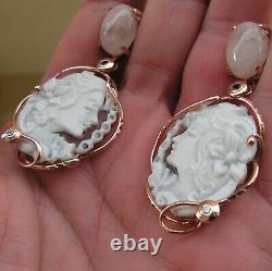 BEAUTIFUL ANTIQUE STYLE SHELL CAMEO EARRINGS ITALY Gem PINK QUARTZ