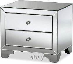 Baxton Studio Farrah Hollywood Glamour Style Mirrored 2-Drawer Nightstand New