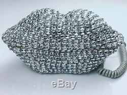 Blingustyle new Design Big silver crystal lips style real telephone home&office