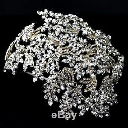 COUTURE Side Accent BRIDAL HEADBAND with Vintage Style Gold Crystal Leaves
