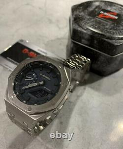 Casio CasiOak GA2100 Blue with Custom Stainless AP Style Case And Bracelet