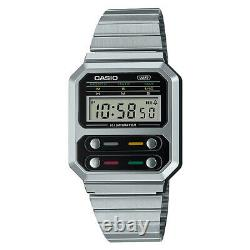 Casio Vintage A100 Series Silver Retro Style Digital Classic Watch A100WE-1A