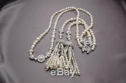 Chanel Seed-pearls CC Crystal Full Pearls Scarf Style Tassels Necklace