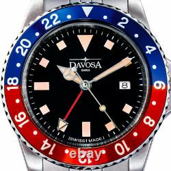 Davosa Vintage-Styled 100-Meter Dual-Time GMT Watch with Bracelet #16350090
