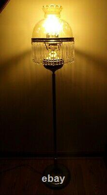 Elegant 52 Inch Floor Lamp With Victorian Style Glass Shade And Hanging Crystals