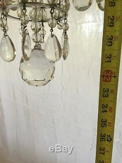 Fabulous Pair Antique French Bagues-style Silvered Bronze & Crystal Chandeliers