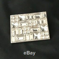 Fallon Brooch Art Deco Style Clear Crystal Baguettes Silver Tone 9A