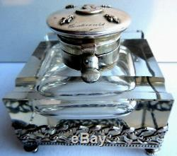 French inkwell crystal + frieze silvered bronze mistletoe, Art Nouveau style