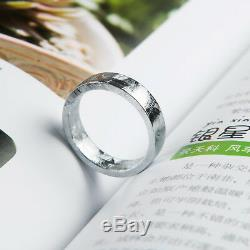 Genuine Natural Gibeon Meteorite Silver Plated Flat Style Ring One Size 6