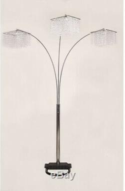 Glam Style 3 Crystal Inspirational Arch Floor Lamp 84 In. Luxurious Rectangular