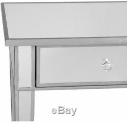 Illusions Mirrored Console Table Desk Crystal Accents Glamour Style Durable New