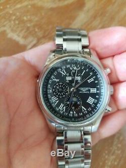 Longines Replica Master Collection Black Dial Chronograph Moon Phase Watch Small