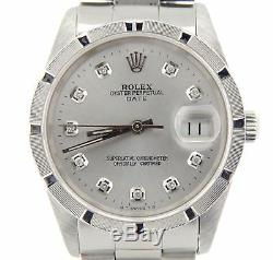 Men Rolex Date Stainless Steel Watch Oyster Style Band Silver Diamond Dial 15210