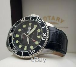 Mens ROTARY Chronospeed watch Divers Style Mineral glass Leather RRP£190 Boxed