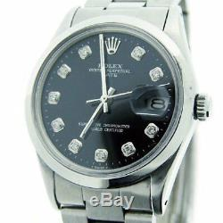 Mens Rolex Date Stainless Steel Watch Oyster Style Band Black Diamond Dial 1500