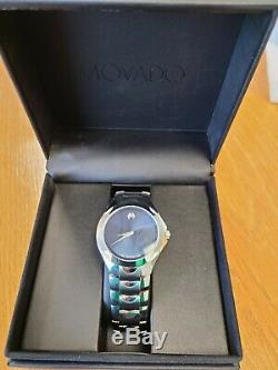 Movado Luno Museum Style Men's Stainless 84-G1-1853 Blue Face- Near Mint