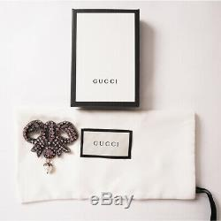 NEW $470 GUCCI Pink Crystal Embellishments VINTAGE STYLE BOW Fx Pearl BROOCH PIN