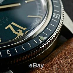 New Christopher Ward C65 Trident Diver Vintage Style Blue Dial Watch 41MM Oak