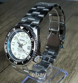 New SKX Style Mod Watch White Full Lume Dial/ Sapphire Crystal/ Lum Bezel, NH35A