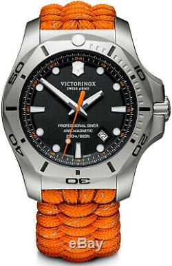 New Victorinox INOX Stainless Steel Black Dial Paracord Style Men's Watch 241845