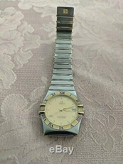 Omega Constellation Two Tone 18k Half Gold Bars Stainless Steel Style 1392/012