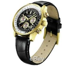 ROTARY Mens Chronograph Watch Black Leather Strap Pilot Style GS03008/04 New