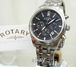 ROTARY mens watch MILITARY Style Chronograph, bracelet RRP £190 Boxed r31