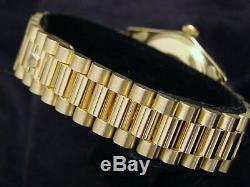 Rolex Date 15037 Men Solid 14K Yellow Gold Watch President Style Band Champagne