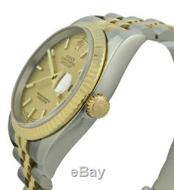 Rolex Datejust 36mm 116233 Steel & 18k Gold Champagne Dial New Style Band MINT
