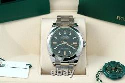 Rolex Milgauss Black Dial Green Crystal New Style Card/Box/Papers 116400GV