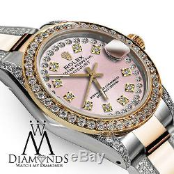 Rolex Oyster Perpetual Datejust 26mm Custom Diamond Dial Vintage Style