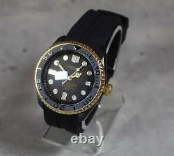 SKX Style New Mod Watch, Black and Gold Case Crown @3 Sapphire Crystal YM NH35A