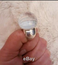 STEPHEN DWECK Style Clear Rock Crystal Quartz Faceted Orb 925 Silver Ring Size 7