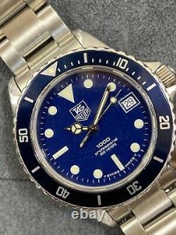 Serviced TAG HEUER 1000 980.613 blue Submariner Style Dive Watch