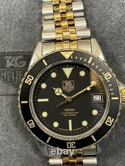 Serviced Vintage TAG HEUER 1000 980.020 Two-tone Submariner Style Dive Watch
