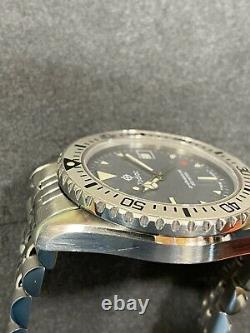 Serviced Vintage Zodiac 1000 Gray Dial Tag Heuer Submariner Style Dive Watch