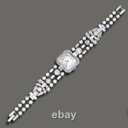 Solid 925 Sterling Silver Wrist Watch Women Square Baguette White Vintage Style