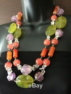 Statement Monies Style Rock Crystal Amethyst Necklace sterling silver clasp