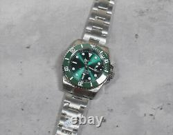 Sub Style Custom Build All Green Sapphire Crystal 40mm Case-NH35A