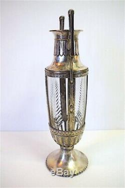 Vase Crystal Silver Metal Style Empire End XIX ° 19th