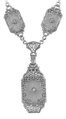 Victorian Style Camphor Glass Crystal Filigree Diamond Necklace Sterling Silver